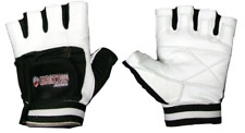 Grizzly Fitness Paws Leather Weight Training Gloves - White / Black - Crossfit