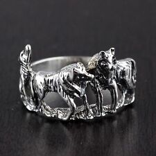 Mens Womens Solid 925 Sterling Silver Vintage Style Wolves Ring