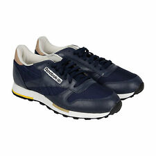 Reebok Classic Leather Casual Mens Blue Black Leather Lace Up Sneakers Shoes