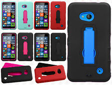 For Nokia Lumia 640 Impact Hard Rubber Kick Stand Case Phone Cover Accessory