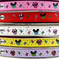 "3/8""9mm Mixed Colors Mickey Head Cartoon Grosgrain Ribbon 5 Yards Hair Bow Craft"