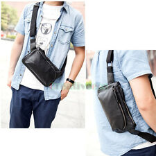 Men Fashion PU Leather Messenger Shoulder Fanny Pack Waist Sling Chest Bag Pouch