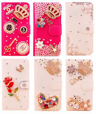 3D Crystal Diamond bling leather wallet flip stand case cover for Samsung phone