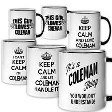 COLEMAN Themed Coffee Mug NEW 6 Designs Available Keep Calm Love Handle Tea