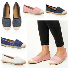 Womens ladies casual walking summer classic flat espadrilles shoes pumps size