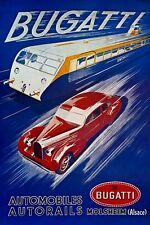 Vintage Bugatti Car and Train Advertisement Poster A3 Print