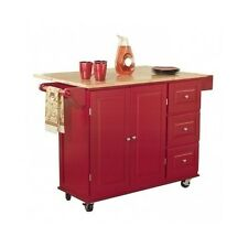 New listing kitchen island wood top red utility cart rolling cabinet