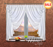 Beautiful German Voile Net Curtain Set White Gold with 6 Flowers Ready to Hang