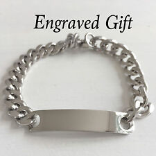 Men's Personalised Stainless Steel ID Curb Link Bracelet with FREE ENGRAVING