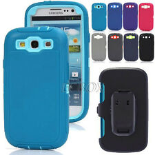 3 Layer Combo Heavy Duty Shockproof Case Cover + Belt Clip for Samsung Galaxy S3