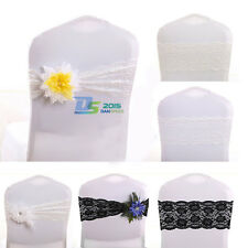 Wedding Stretch Lace Chair Cover Sashes Party Banquet Bridal Venue Bow Supplies