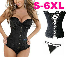 A1H Sexy Basque Pattern Black Corset Lingerie Boned Lace Up Bustier G-string Hot