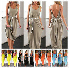 Sexy Ruch Pleat Open Backless Loose Vest Sundress Maxi Long Casual Beach Dress A