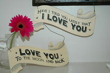 SHABBY CHIC WOODEN RIBBON LOVE SIGN EAST OF INDIA GIFT VINTAGE RETRO
