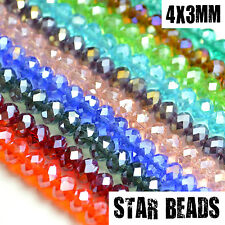 FACETED RONDELLE CRYSTAL GLASS BEADS PICK AB COLOUR 4X3MM