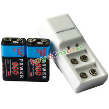 2x 9V Power Black 600mAh Ni-Mh Rechargeable Battery + Dual Batteries Charger