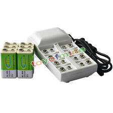6x 9V 6F22 PPS 300mAh Ni-Mh Rechargeable Battery + 8 Slot Batteries Charger
