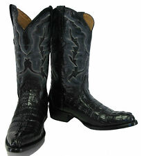 Men's Genuine Crocodile Alligator Exotic Tail Cowboy Western Boots R Toe Black