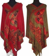 Noble Red Double-Faced Chinese Women Pashmina Silk Shawl/Scarf Butterfly 47