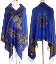 Noble Double-Faced Blue Chinese Butterfly Women Pashmina Silk Shawl/Scarf #136