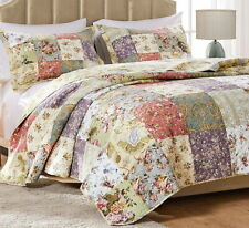 BLOOMING GARDEN 5PC Full Queen or King QUILT SET : COTTON FLORAL COUNTRY PAISLEY