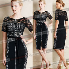 Womens Lace Crochet Mesh Front Zipper Belted Wear to Work Party Sheath Dress 683