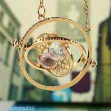 Harry Potter/Hermione Granger Gold Time Turner Necklace Rotating Spins HourGlass