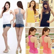 Vogue Comfortable Womens Tank Top Crochet Lace Hollow Out Back Camisole T-Shirts