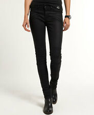 New Womens Superdry Biker Superskinny Jeans Oil Skin Black