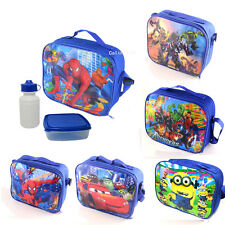 New Kids Boys Lunch Bag Insulated Picnic Tote School Container With Bottle Box