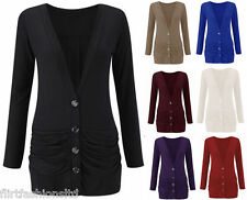 New Plus Size Ladies Button Up Cardigan Boyfriend Womens Drop Pocket Long Sleeve