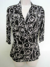 BANANA REPUBLIC Women's Black Floral Faux Wrap 3/4 Sleeve Top Size Small  NWT