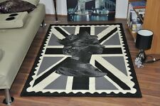 New Extra Large Queen Union Jack Black Modern Funky Retro Cheap Soft Rug Carpet