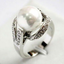 Fashion Natural 12mm White South Sea Shell Pearl Wedding Jewelry Ring Size 6-9