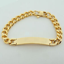 Unisex Personalised IP GOLD Steel ID Curb Link Bracelet with FREE ENGRAVING