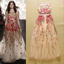women vintage grace summer runway Modern floral embroidery cocktail long dress