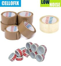 CELLOFIX LOW NOISE PACKING PARCEL TAPE ROLLS BROWN CLEAR FRAGILE TAPE 48mm X 66M