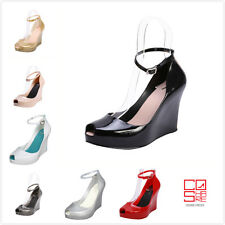 New Women's sexy Ankle Strap Jelly Peep Toe Heels Sandals Platform Wedges Pumps