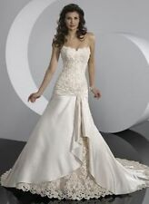 STOCK New Ivory Satin Wedding Dress Bridal Gown Size 6 8 10 12 14 16 18(up lace)