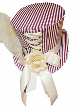 Pinstripe Lilac and white handmade Tophat with cream ribbon