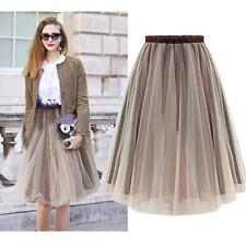 Retro Women Organza Pleated Long Elastic Waist Skirt Casual Party Full Skirt B76