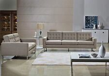 Beige Linen Fabric Modern Sofa&Loveseat Set, Sofa, Loveseat Option