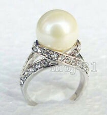 12mm White South Sea Shell Pearl 18K White Gold Plated Crystal Ring Size 7/8/9