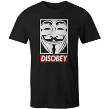 Anonymous V For Vendetta Disobey Guy Fawkes Mask Mens T-shirt Obey  BLACK NEW