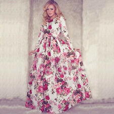 Kaftan Abaya Floral Islamic Muslim Cocktail Women Long Sleeve Vintage Maxi Dress