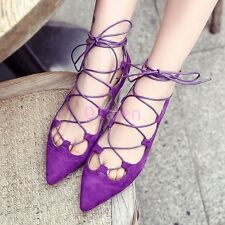 Hot Womens Girls Velvet Pointy Toe Flat Lace up Roma Sandal Cut out Summer Shoes