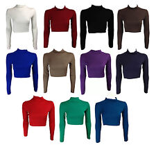 NEW LADIES  TURTLE POLO NECK LONG SLEEVE JERSEY T SHIRT CROP TOP SIZE 8-14