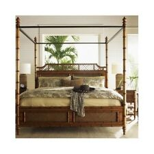 Four Poster Bed Canopy Coastal Tropical Island Rattan Bamboo Queen King Bedroom