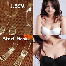 2-10 Clear Bra Straps Transparent Invisible Detachable Adjustable Metal Hook 1.5