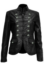 Ladies Black Pure Soft Sheep NAPPA Leather Military Syle Steampunk Jacket (MJ1)